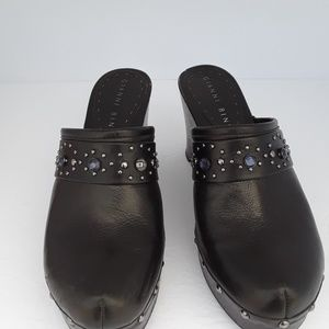 GIANNI BINI Leather Wood Rhinestones Clogs 8.5M